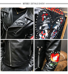 Men's Handsome PU Leather Slim Rivet Jacket