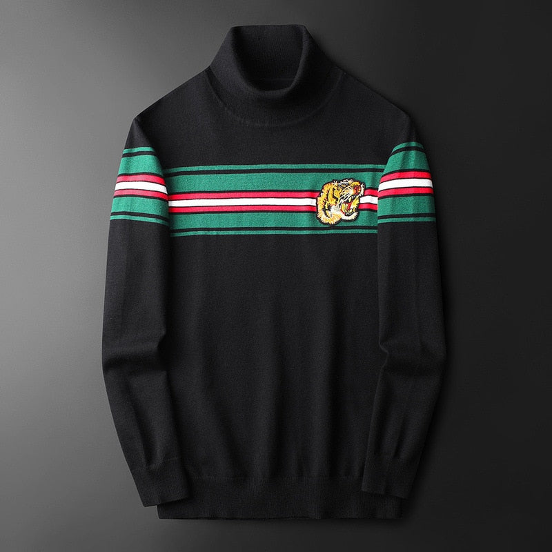 Men Tiger Head Embroidery Cotton Sweaters