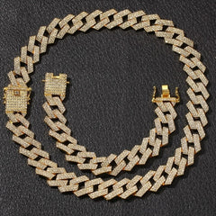 20mm Cuban Chain Rhinestones Necklace & Bracelet
