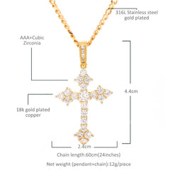 Full Iced Cross CZ Pendant Necklace