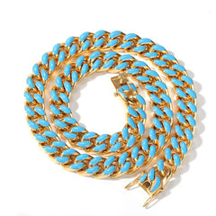 Colorful 11mm Cuban Link Chain Necklace