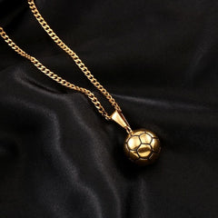 Gold Color Sporty Pendant Football Necklace