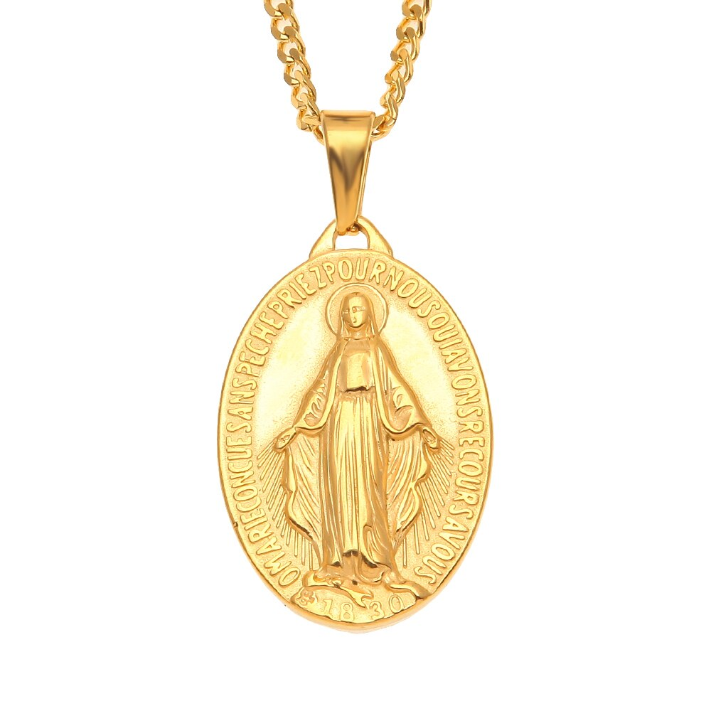 Stainless Steel Virgin Mary Punk Pendant Necklace