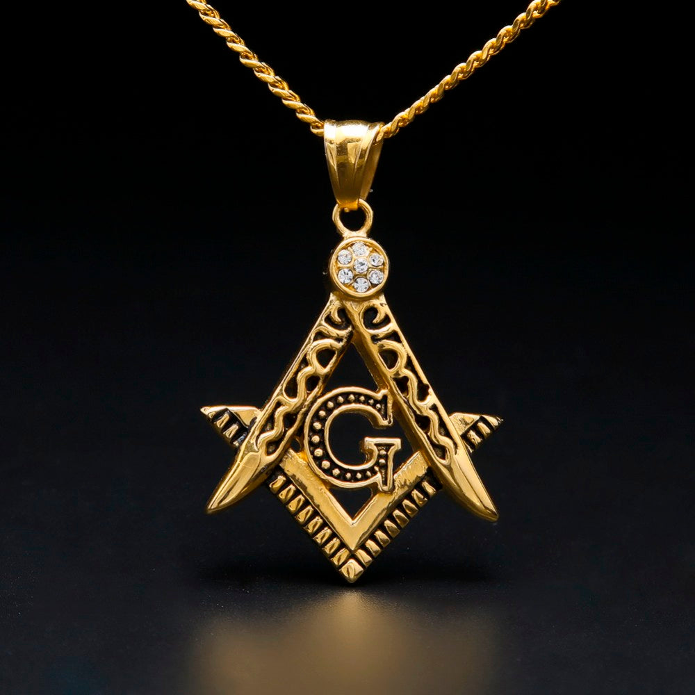 Hiphop Initial Masonic Symbol Compass Necklace