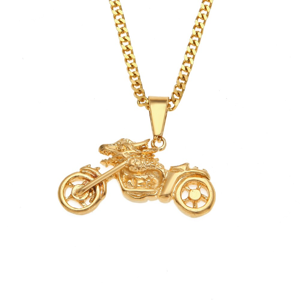Vintage Wolf Head Motorcycle Pendants Necklaces