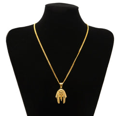 Vintage Egyptian Pharaoh Head Pendant Necklace
