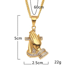 Vintage Praying Hand Cross Pendants Necklaces