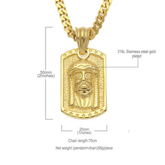 Jesus Tag Face Men's Vintage Pendants Necklace