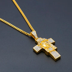 Jesus Cross Rhinestones Gold Silver Pendant Necklace