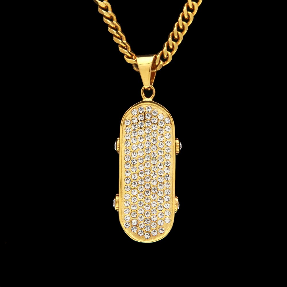 Gold Color Skateboard Pendants Necklaces