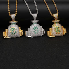 Luxury Rich US Money Bag Coin Necklace