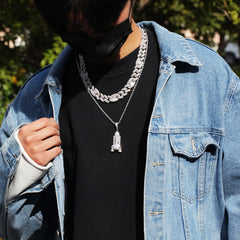 Luxury Silver 15mm Hip Hop Unisex CZ Necklace
