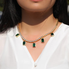 Hip Hop Green Gemstone Women Necklaces