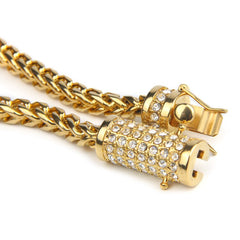 Unisex Gold Franco Chain Box Clasp Necklace