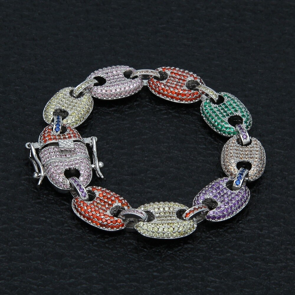 Hip Hop Fat Links Men Rainbow Bracelet