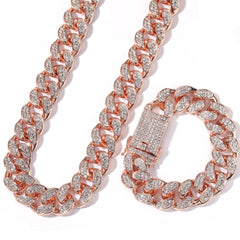 20mm Hip Hop Rhinestones Necklace & Bracelet Set