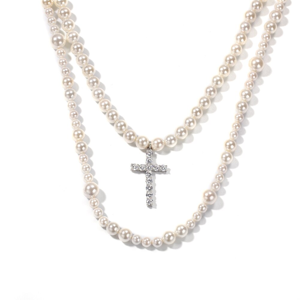 2 Layers Beads White Pearl Hip Hop Necklaces