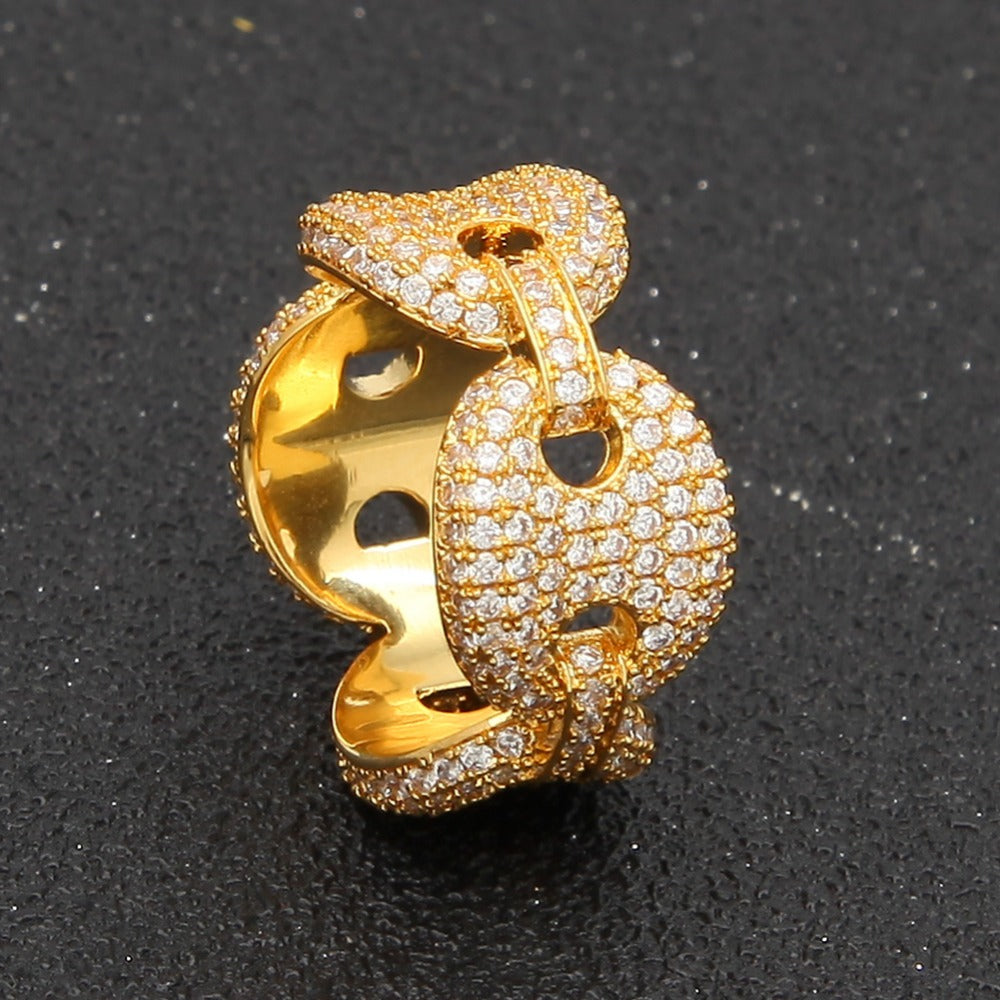 Unisex Puffed Marine Chain Fat Links Ring