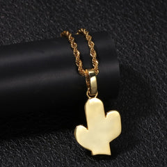 Cactus Shape Hip Hop Pendants Necklace