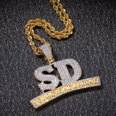 SD Letters Hip Hop Pendant Necklace