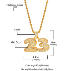 Number 23 Rope Chain Pendant Necklace