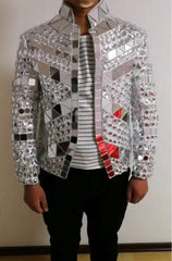 Male Silver Mirror Singer Outfit Jacket
