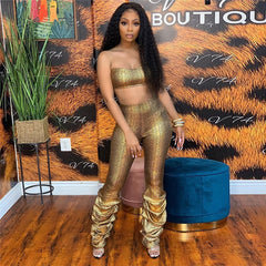 Snakeskin Print Women Sexy Two Piece Set