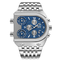 3 Time Zone Date Stainless Steel Men's Watches