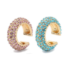 C Shaped Rhinestone Small Clip Earrings