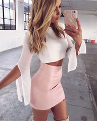 Women Sexy Faux Leather High Waist Mini Skirt