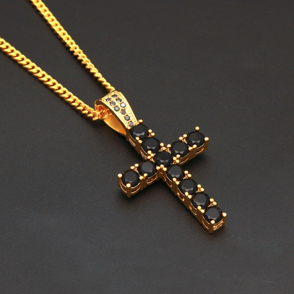 Luxury Men's Full Crystal Cross Pendant Necklace