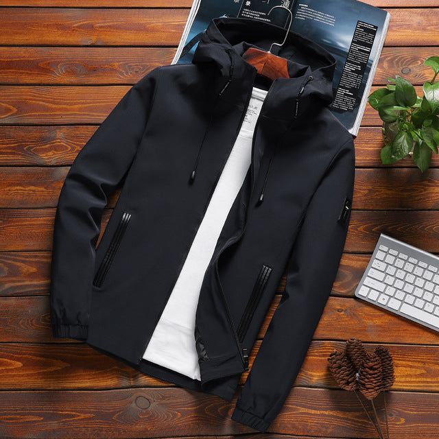 Jacket Men Casual Solid Hooded Jackets
