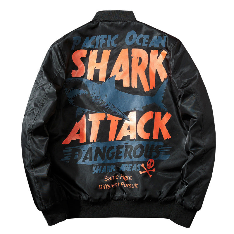Winter Shark Print Hip Hop Jacket