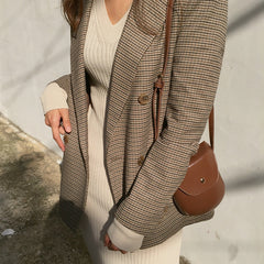 Vintage Double Breasted Office Ladies Plaid Blazer