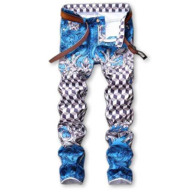 Men's Skinny Printed Slim Jeans Pants