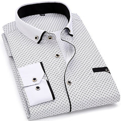 Long Sleeved Printed Slim Fit Male Social Business Dress Shirt