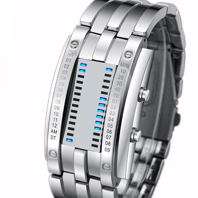 Creative Sport Stainless Steel Strap LED Display Watches