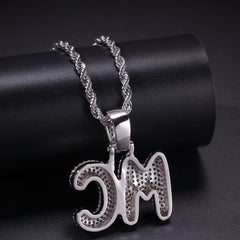 Bubble Letters CZ Pendant Necklace