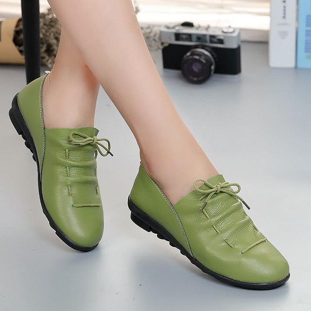 Spring Lace-up Pleated Genuine Leather Flats Shoes