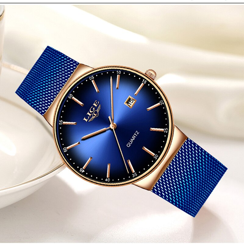 Luxury Blue Camouflage Sports Casual Stainless Steel Waterproof Watch