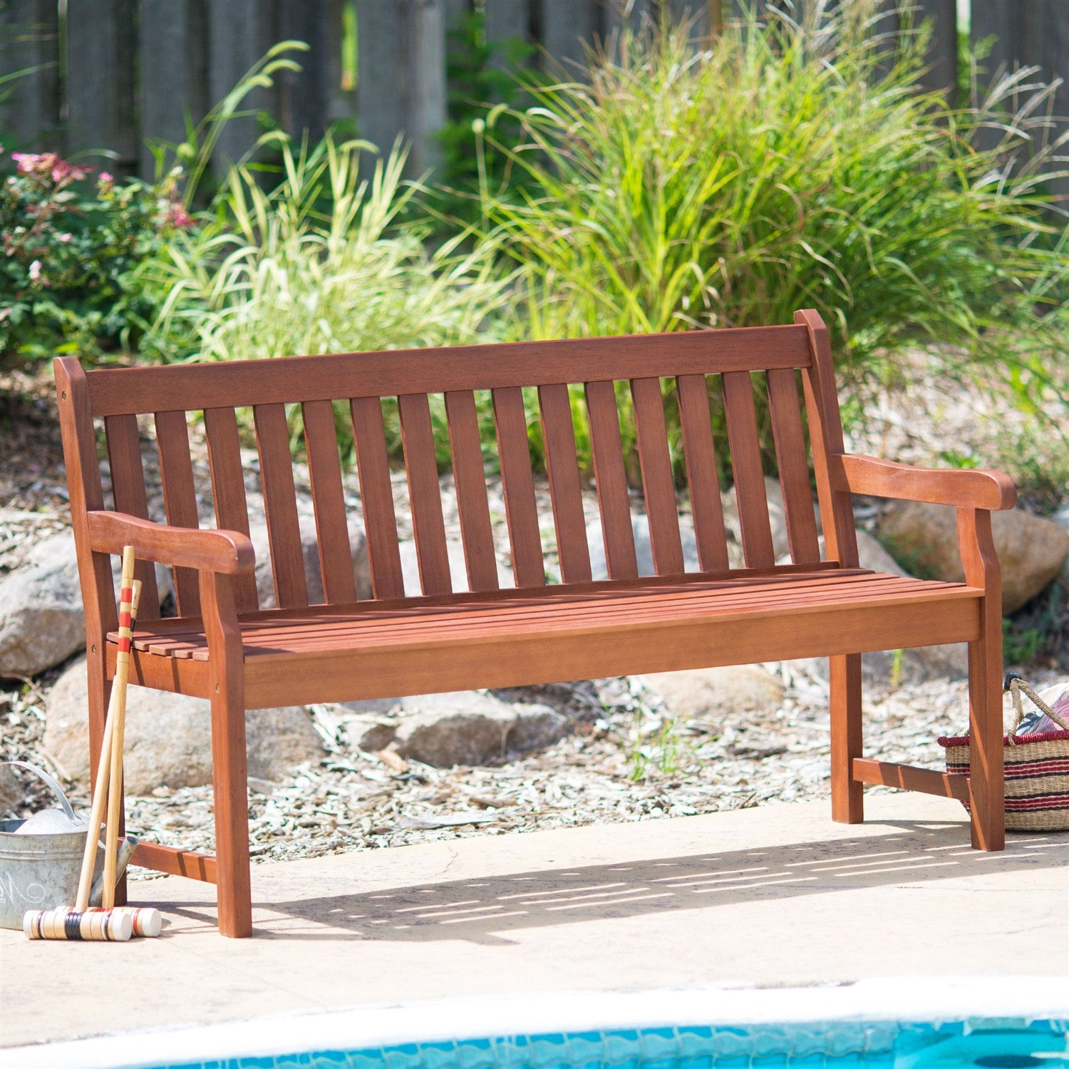 4 ft outdoor love seat garden bench in natural wood finish