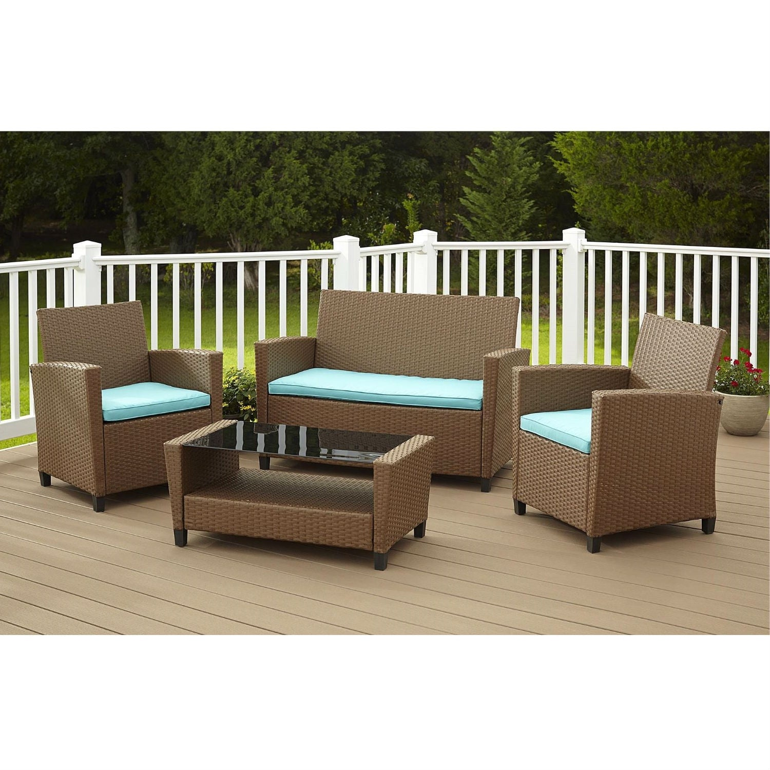 4 Piece Outdoor Patio Furniture Set In Brown Wicker Resin With Teal Cushions