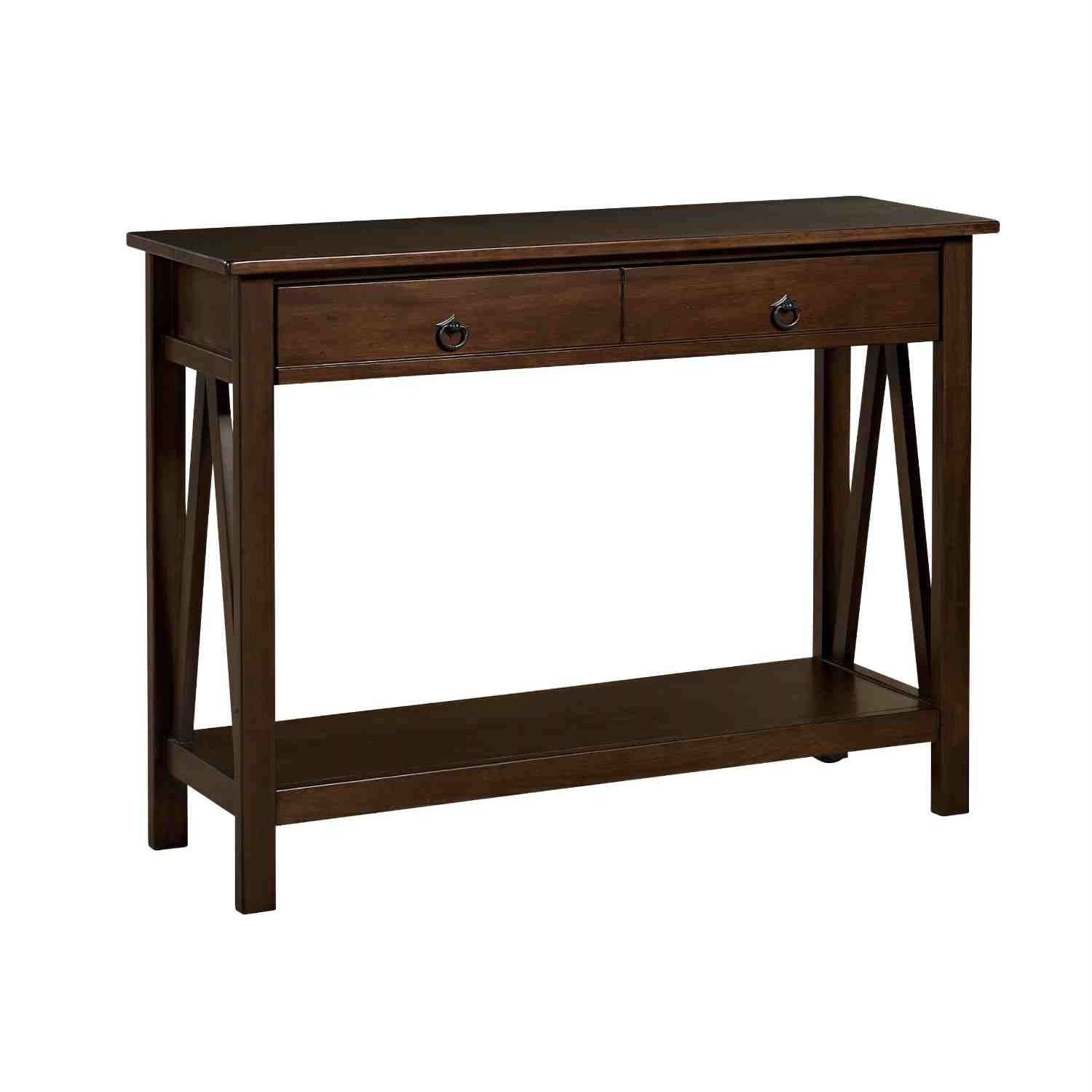 2 Drawer Console Sofa Table Living Room Storage Shelf in Tobacco Brown