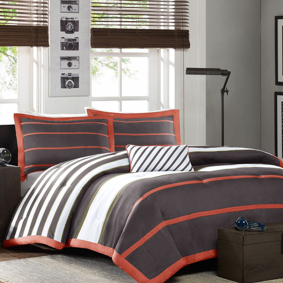 full queen bed bag comforter set in dark gray orange white stripes