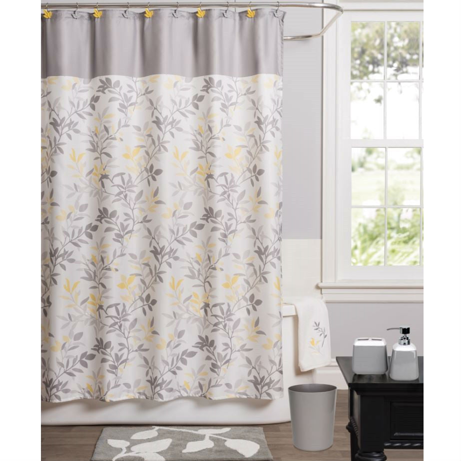 Yellow and gray shower curtain - Modern Trellis Leaf Yellow Grey Beige Polyester Fabric Shower Curtain