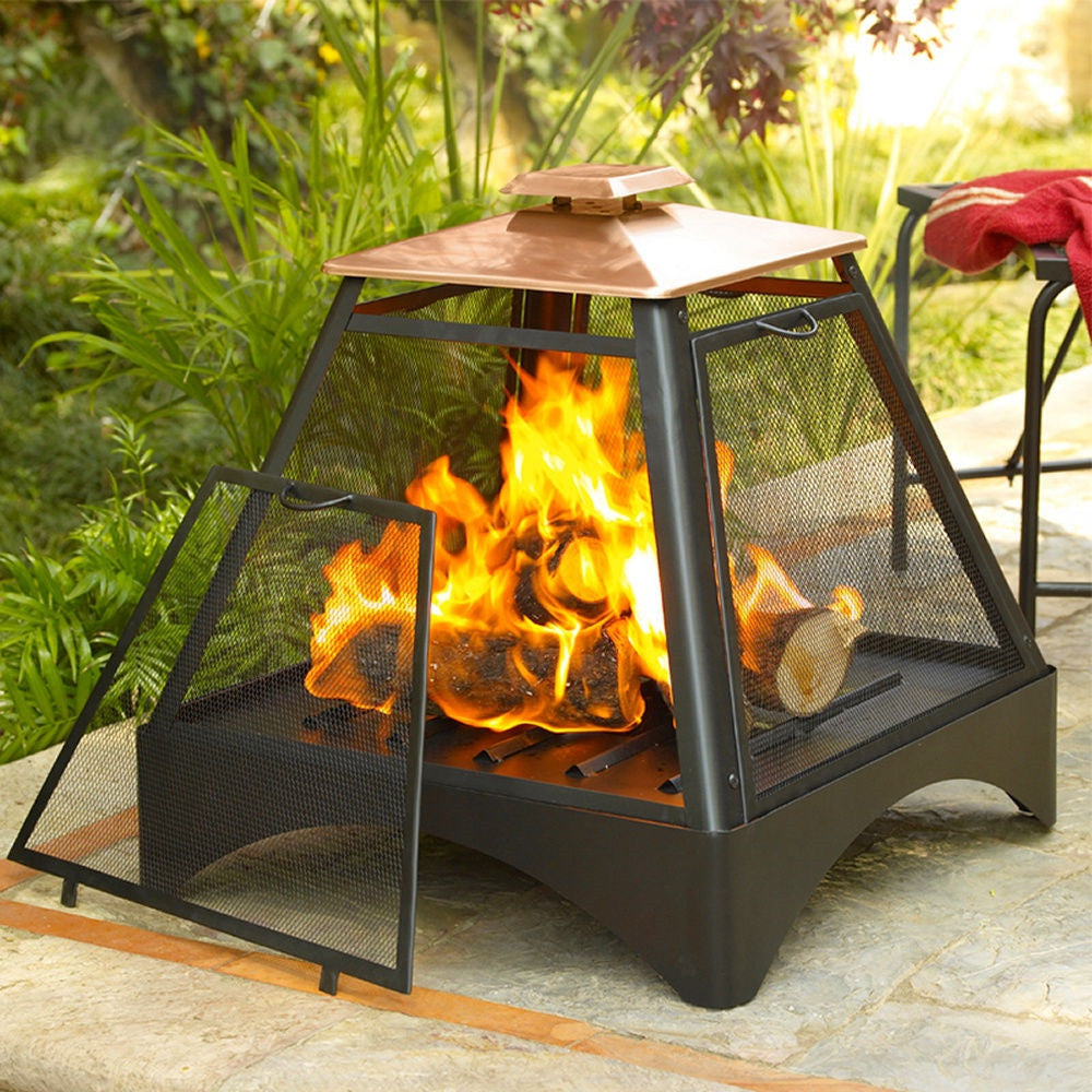 pagoda pyramid fire pit fireplace with copper roof