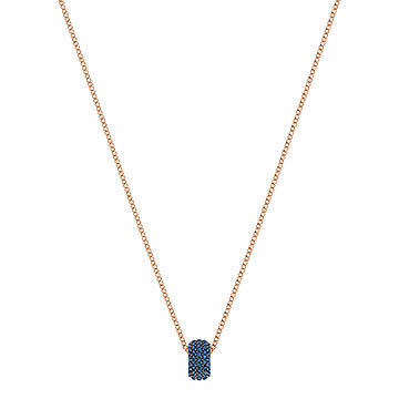 Swarovski Round Stone Necklace - Monterey Blue + Rose Gold