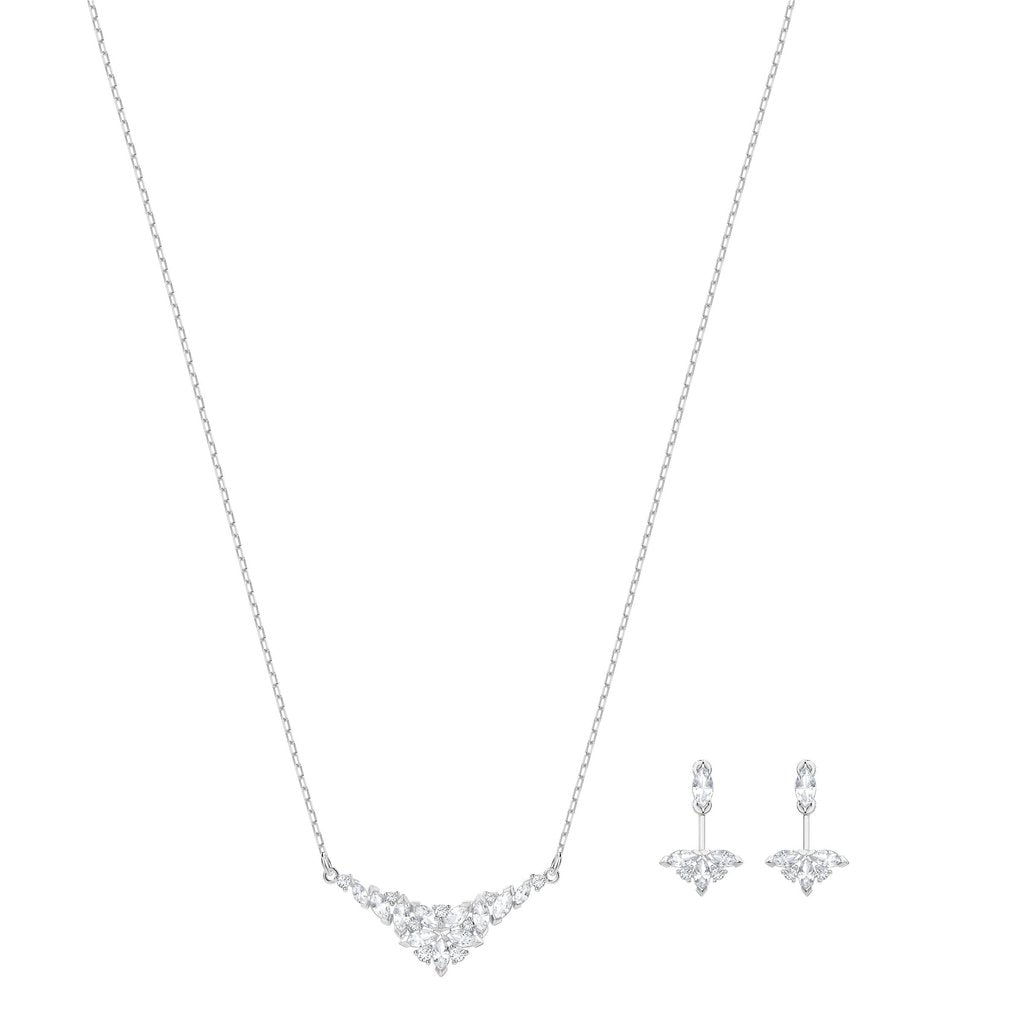 Swarovski Lady Necklace + Earring Set - Silver