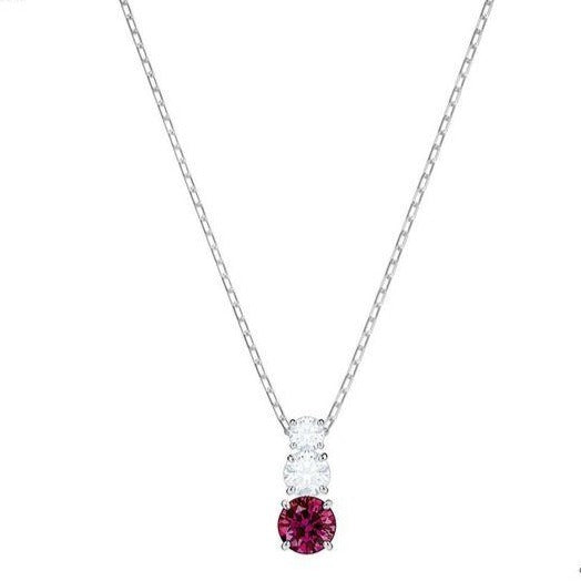 Swarovski Attract Trilogy Pendant Necklace - Silver + Red