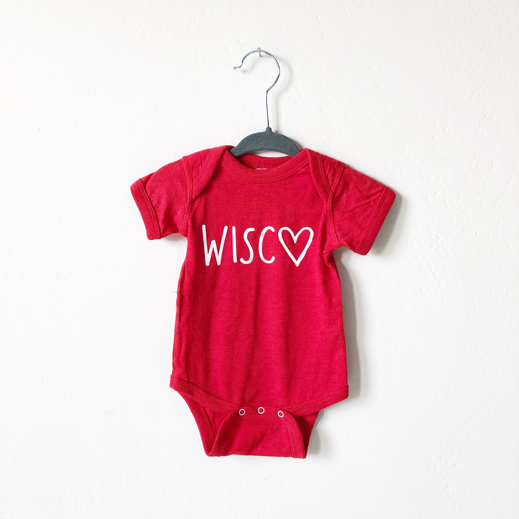Wisco Heart Onesie: Red